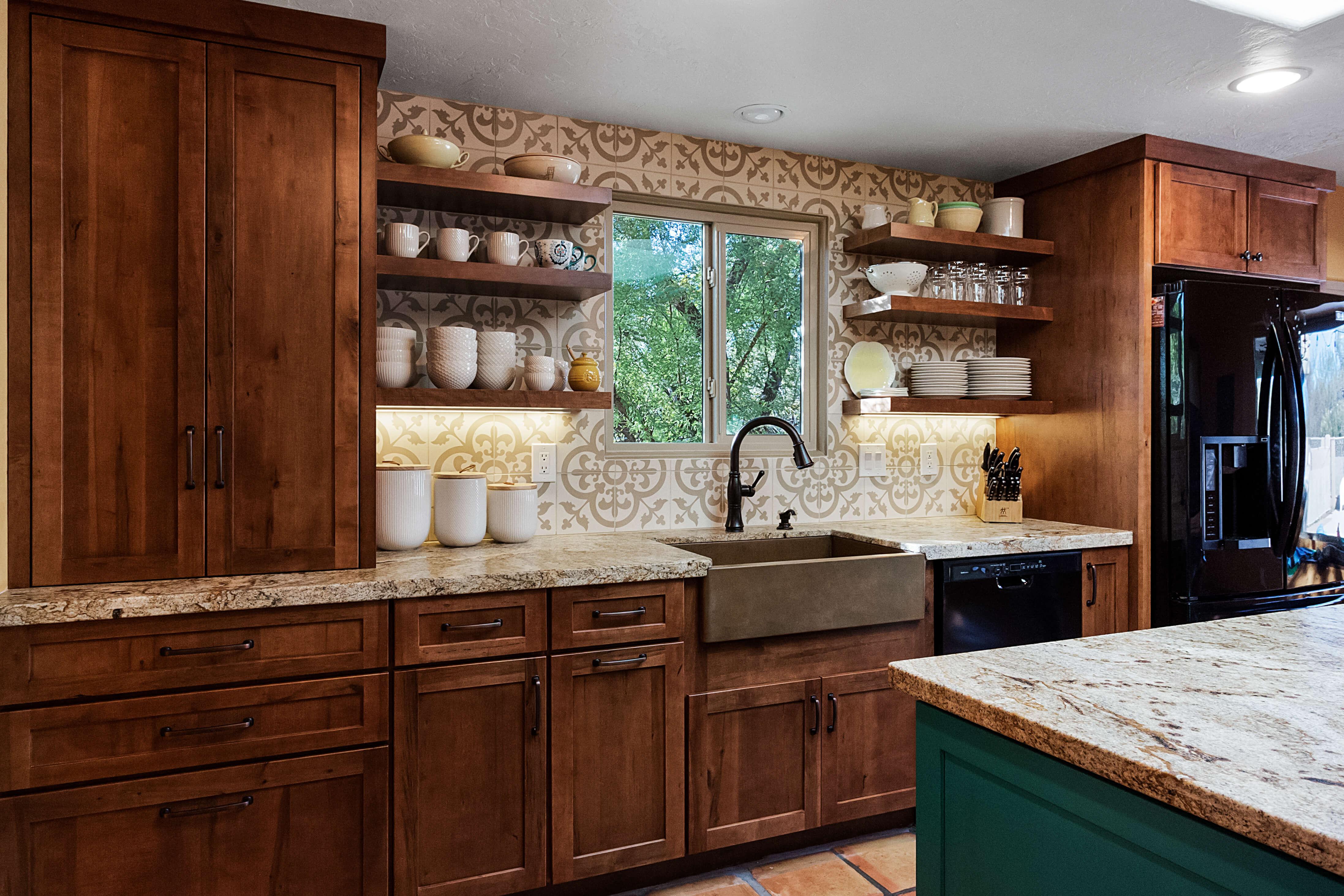 oro valley kitchen with a turquoise island designer matt