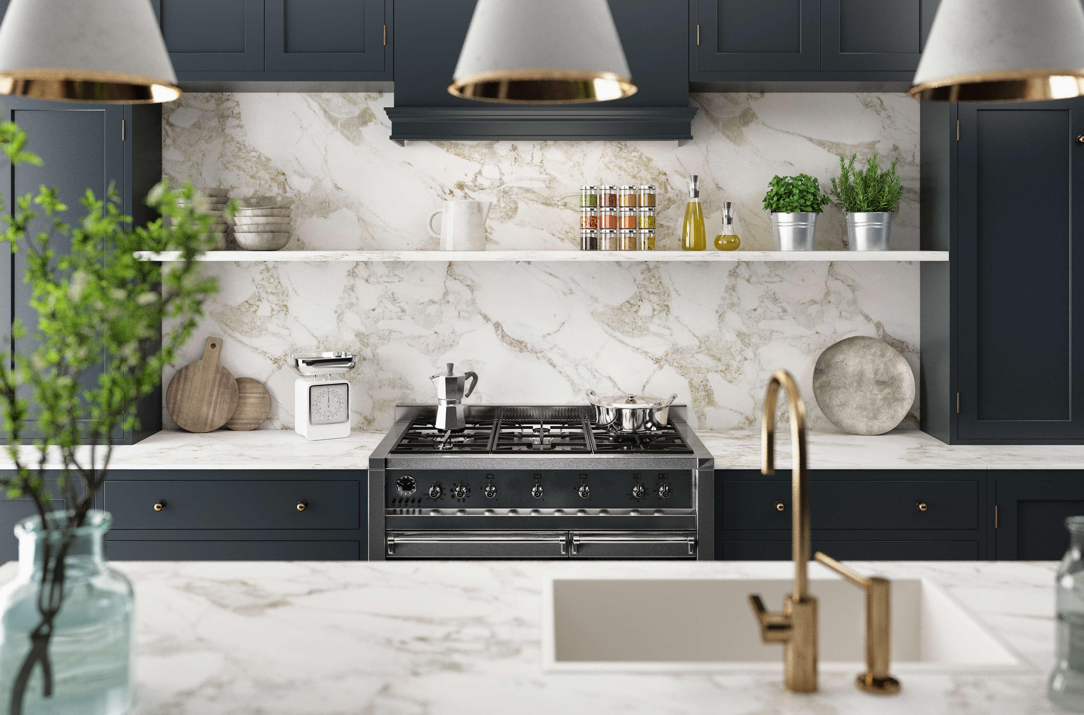 Cucina Moderna Realistica Design Minimal In Legno E Marmo Render 3d Southwest Kitchen